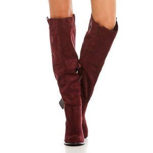 Very Volatile Nate Boots Tall Heeled Wine NWT 6